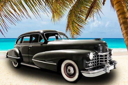 Vehicle, Oldtimer, Cadillac, Sea, Beach, Palm, Holiday