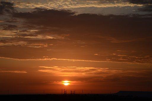 Sunrise, Clouds, Sky, Red, Dawn, Summer, Dramatic