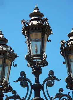 Candelabra, Old, Lighting, Iron, Frankfurt, Contrast