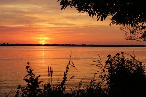 Sunset, Summer, Water, River, Evening, West, Holidays