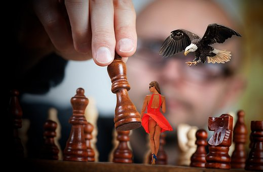 Chess, Man, Woman, Sexy, Dress, Red, Raptor, Chess Game