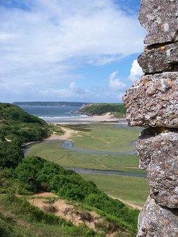 Gower, Three Cliffs, Castle, Swansea, Bay, Wales