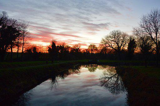 Sunset, River, Trees, Sky, Water, Landscape, Nature