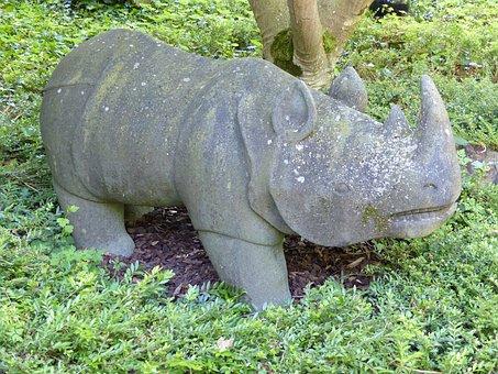 Sculpture, Stone, Rhino, Weathered, Stone Sculpture