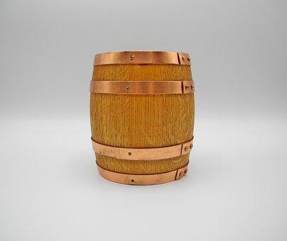 Barrel, Miniature, Wood, Oak, Copper, Piggy Bank