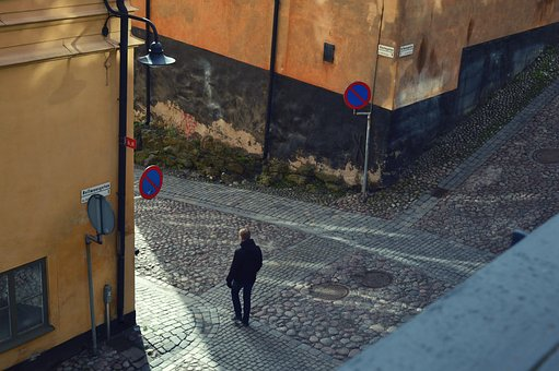 Cobbled Street, Solitary, Man, City, Street