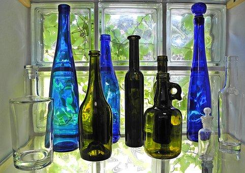 Bottle, Glass, Colored Glass, Decoration, Window, Blue