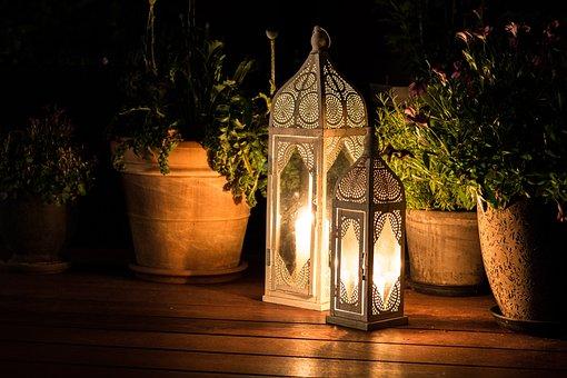Cozy, Terrace, Lanterns, Evening