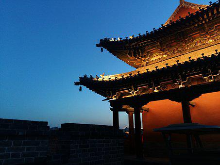 The City Walls, Night View, China, Datong, Building