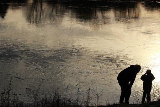 Father, Child, Son, Weser, River, Evening, Together