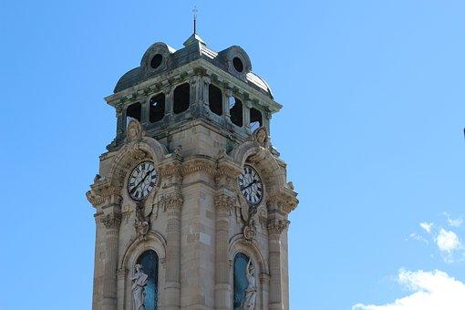 Architecture, Clock, London, Blue, Church, Stone