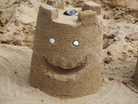 Sand, Sandburg, Smilie, Beach, Sand Sculpture, Holiday
