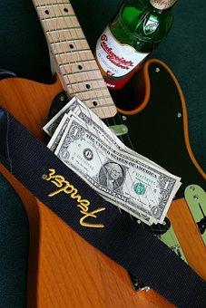 Guitar, Music, Musical Instrument, Dollar, Beer