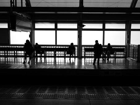 Train, Subway, Station, Railroad, Wait, Bw, Black White