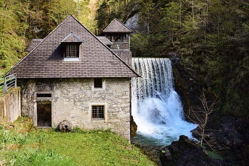 House, River, Flowing, Waterfall, Nature