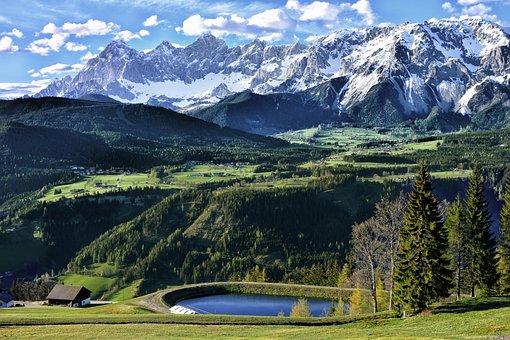 Mountains, Lake, Landscape, Alps, Austria, Sky, Pond