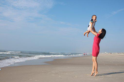 Mother, Son, Ocean, Beach, Sand, Waves, Child, Family