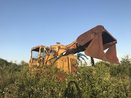 Construction Machine, Leave, Old, Destruction, Broken