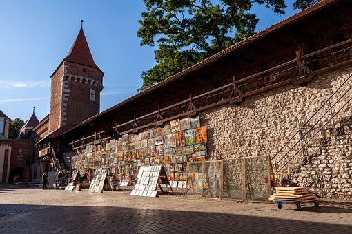 Krakow, Wall, Historically, Goal, Poland, Old Town