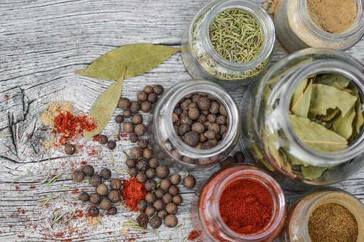 Spices, Jar, Kitchen, Cooking, Wooden, Pepper, Glass