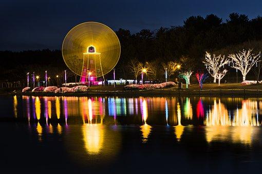 Night View, Windmill, Lake