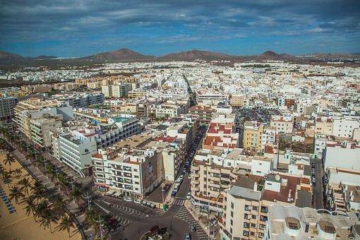 Arrecife, Capital, Lanzarote, Aerial View, View, City