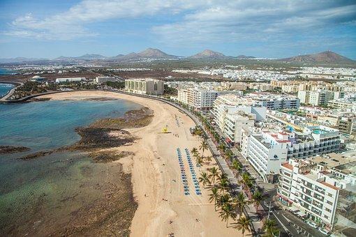 Arrecife, Capital, Lanzarote, Beach, Sea, Coast, Sky