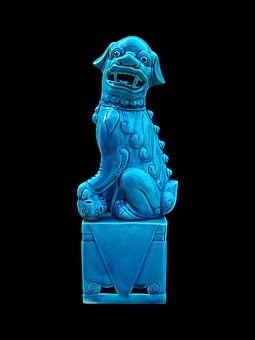 Porcelain Figure, Dog Porcelain, Figure Blue