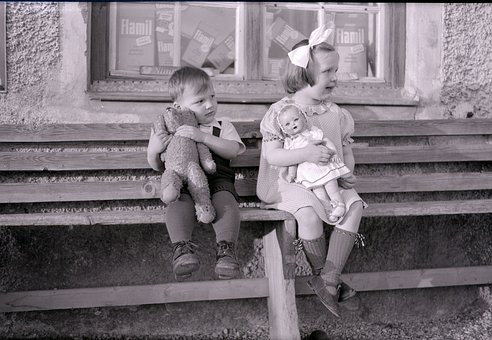 Children, Small, Formerly, Old Picture, Doll, Bear