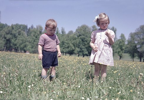Children, Meadow, Colorful, Color Image, Out, Green