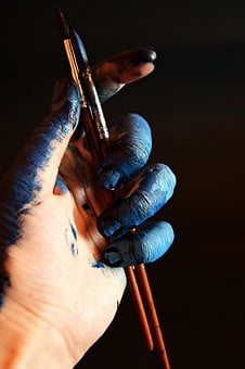 Hand, Blue, Artist, Paint, Painter, Texture, Pattern