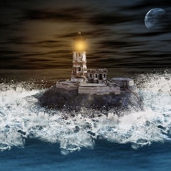 Lighthouse, Sea, Ocean, Surf, Wave, Water, Blue, Rock