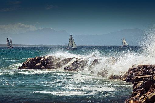 Sailing Boat, Coast, Sea, Water, Sail, Blue, Summer