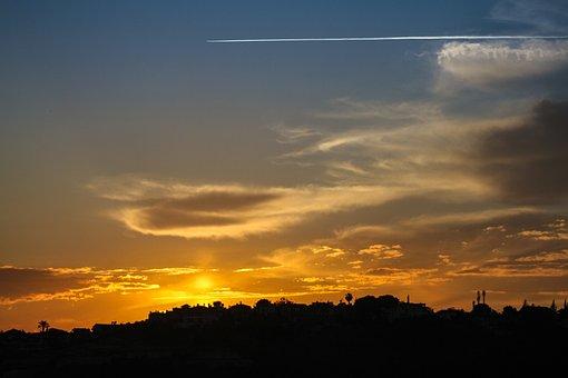 Silhouette, Solar, Sunset, The Setting Sun, Cloud