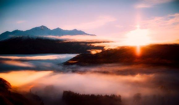 New Zealand, Sunrise, Morning, Fog, Sky, Clouds