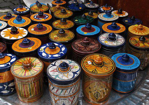 Ceramic, Cans, Tableware, Africa, Painted, Decorative
