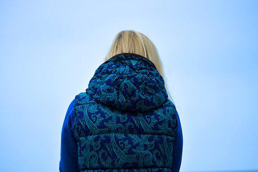 Blonde, Woman, Girl, Vest, Sweater, Blue, Sky, Thinking