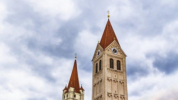 Steeple, Church, Building, Clock Tower, Sky, Catholic