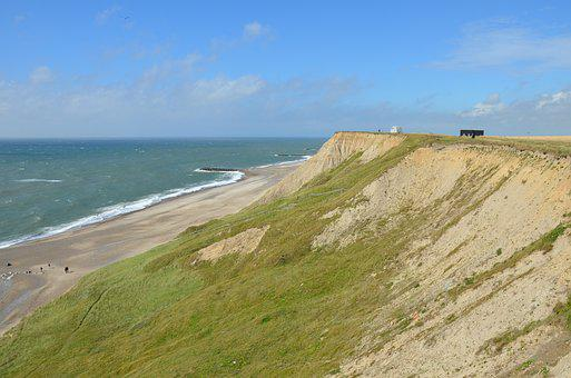 North Sea, Cliff, Denmark, Coast, Sea, Sky, Beach