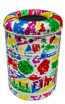 Garbage Can, Colorful, Color, Art, Disposal