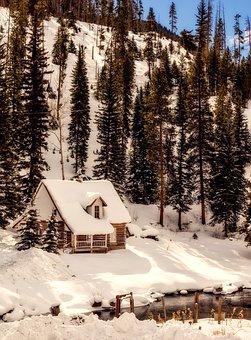 Colorado, Winter, Snow, Log Cabin, Cottage, Home