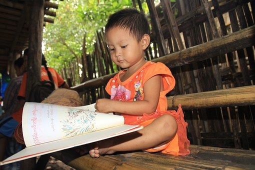 Kid, Reading, Book, Girl, Kids Reading, Education