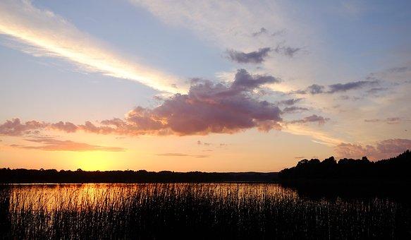 Silence, Lake, Sunset, Clouds, Paint, Summer