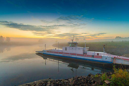 Sunrise, Ferry, Sky, Clouds, Lighting, Fog, Sun