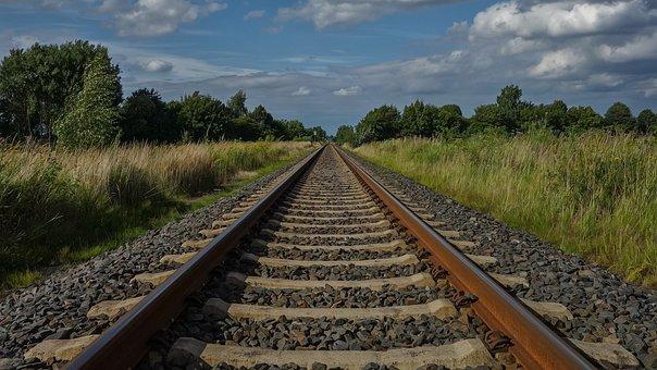 Railroad, Train, Travel, Sky, Width, Perspective