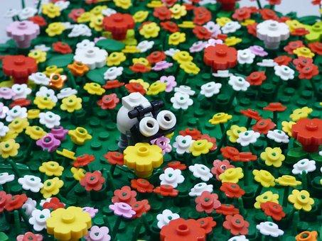 Lego, Pads, Meadow, Flowers, Polyana, Cow, Toy