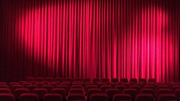 Cinema, Theater, Hall, Curtain, Film Screening, Red