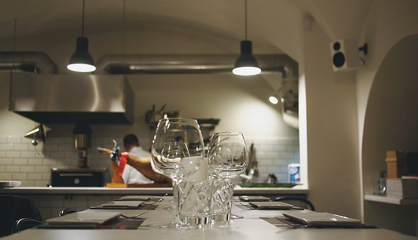 Kitchen, Restaurant, Chef, Cooking, Table, Glasses