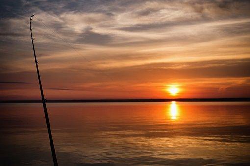 Dawn, Summer, Nature, Landscape, Fishing, Sun, Rod, Sea