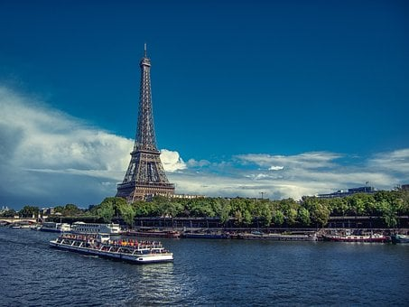 Paris, Eiffel, France, Seine, Eiffel Tower, Blue, Sky